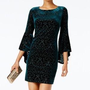 NWT Velvet Burnout Bell Sleeve Cocktail Midi Dress